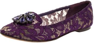 Dolce & Gabbana Purple Lace Jeweled Embellishment Ballet Flats Size 39