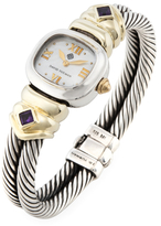 David Yurman Vintage Sterling Silver & 14K Yellow Gold Cable Classics Watch, 21mm