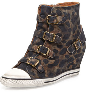 Ash Eagle Leopard-Print Wedge Sneaker
