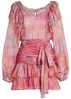 LoveShackFancy Moxie Pleated Ruffle Mini Dress