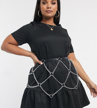 Asos DESIGN Curve chain skirt festival waist belt-Silver