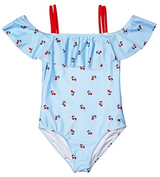 Tommy Hilfiger Cherry Ithaca One-Piece Swimsuit (Big Kids) (Light Azure Blue) Girl's Swimsuits One Piece