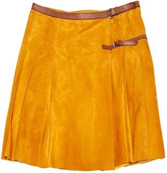 Prada Yellow Suede Skirt for Women