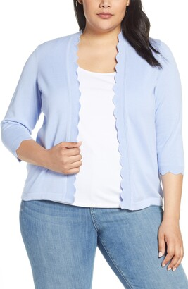 CeCe Open Front Scalloped Cardigan