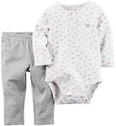 Carter's Baby Girl Long-Sleeved Dainty Floral Bodysuit & Solid Pants Set
