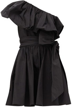 Valentino Ruffled One-shoulder Cotton-blend Mini Dress - Black