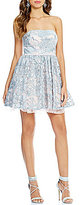 Jodi Kristopher Strapless Floral Sequin Swing Party Dress