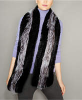 The Fur Vault Fox-Trim Knitted Rex Rabbit Fur Stole