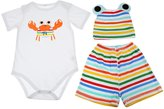 Generic Crab Print Cotton Baby Infant Outfits Three Piece Suit Bodysuit Shorts and Hat