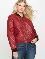 ELOQUII Plus Size Quilted Faux Leather Bomber Jacket