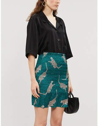 Jo-Jo NEVER FULLY DRESSED Jojo cheetah-print satin-crepe mini skirt