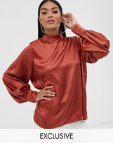 Pretty Lavish high neck top with balloon sleeves