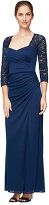 Alex Evenings Long A-Line Dress with Sweetheart Neckline (Navy) Women's Dress