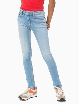 Calvin Klein Girls Skinny Fit High Rise Light Blue Jeans