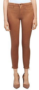 L'Agence Sabine High Rise Skinny Zip Jeans in Java Coated