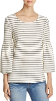 Calvin Klein Dot Stripe Bell Sleeve Blouse