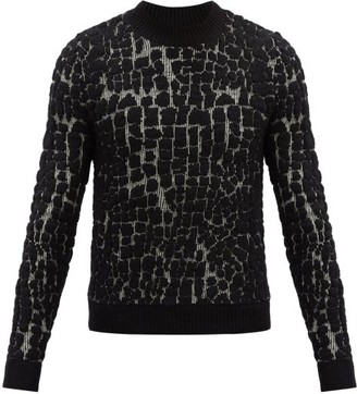 Saint Laurent Crocodile-jacquard Wool-blend Sweater - Black Grey
