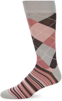 Saks Fifth Avenue Made In Italy Argyle & Stripe Mid-Calf Socks