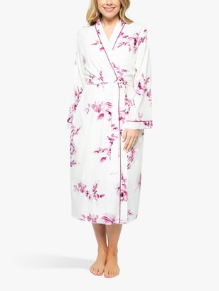 Cyberjammies Nova Floral Print Dressing Gown, Cream/Pink
