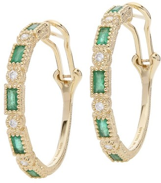 Judith Ripka 14K Gold Gemstone Hoop Earrings