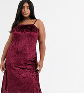 AX Paris Plus Plus velvet cami mini dress in wine