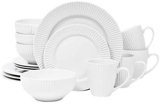 Sango Aventura White 16 Piece Dinnerware Set, Including 4 Dinner Plates 4 Salad Plates, 4 Soup Bowls, and 4 Mugs