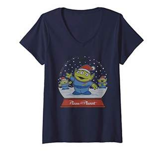 Disney Womens Pixar Toy Story Aliens Pizza Planet Snowglobe V-Neck T-Shirt