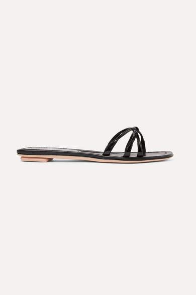 Prada Patent-leather Slides - Black