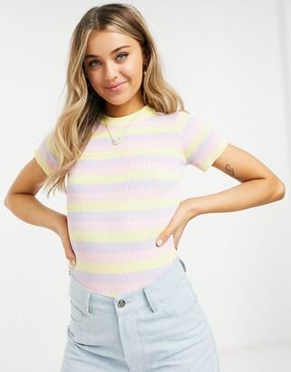 Daisy Street short sleeve jumper in pastel knit stripe