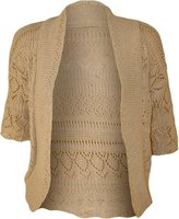 FashionMark Women's Plus Size Crochet Knitted Short Sleeve Cardigan (Brown)
