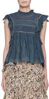 Etoile Isabel Marant Vivia Sleeveless Cotton Blouse with Lace Trim
