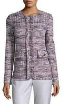 St. John Anna Woven Frayed Jacket