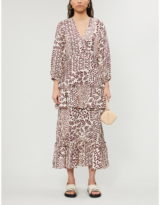 Alexis Tereasa graphic-print linen midi dress