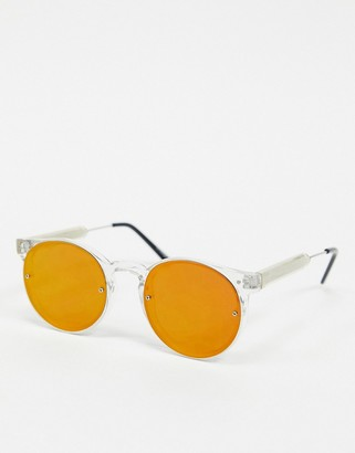Spitfire Post Punk round sunglasses in clear with red mirror lens
