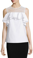 Jason Wu Sleeveless Sheer-Yoke Ruffle Top, White