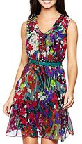JCPenney Nine & Co.® Sleeveless V-Neck Ruffle-Edged Dress Iris Combo