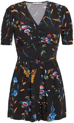 Maje Printed Crepe Playsuit