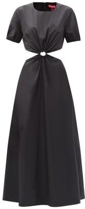 STAUD Calypso Cutout-waist Recycled-poplin Dress - Black
