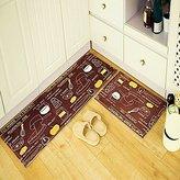 Ustide 3-Piece Coffee Color Kitchen Rug Set Memory Foam Floor Runner Soft Rug Coral Fleece Doormat Non Slip Floral Bathroom Rug
