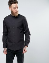 Asos Regular Fit Shirt With Grandad Collar In Black