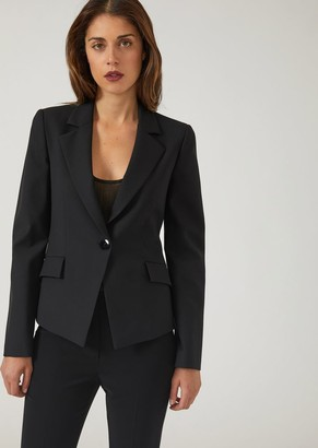 Emporio Armani Slim Fit Single-Breasted Jacket In Stretch Virgin Wool
