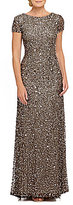 Adrianna Papell Short-Sleeve Sequined Long Skirt Gown