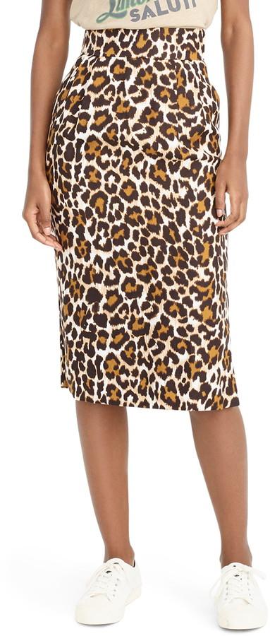 J.Crew Leopard Print Pencil Skirt