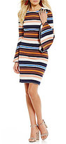 Sugar Lips Sugarlips Striped Bell Sleeve Sheath Dress