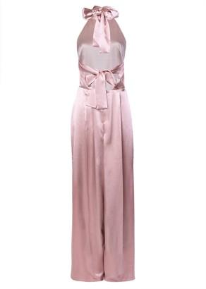 True Decadence Dusty Pink Satin Halterneck Backless Jumpsuit