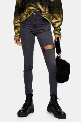 Topshop Washed Black Thigh Rip Jamie Skinny Jeans
