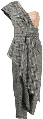 Dolce & Gabbana Bustier-Panel Houndstooth Draped Dress