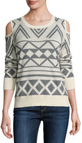 Neiman Marcus Cold-Shoulder Geometric Sweater, Cream/Gray