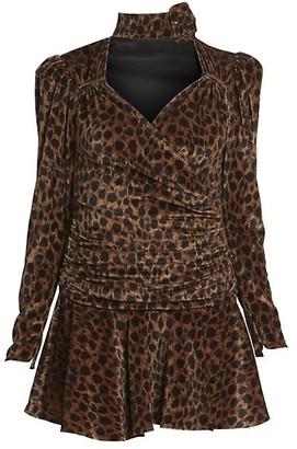 ATTICO Leopard Velvet Mini A-Line Dress
