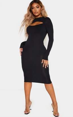 PrettyLittleThing Shape Charcoal Jersey Cut Out Long Sleeve Midi Dress